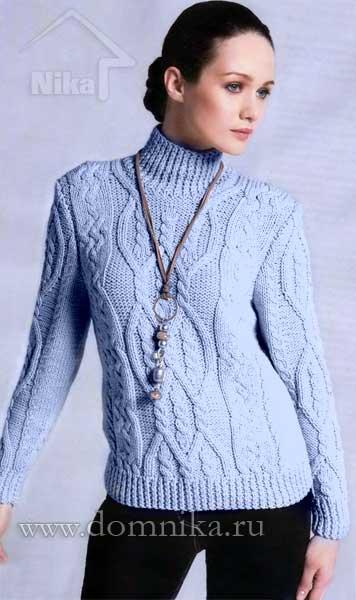 Женское платье свитер спицами