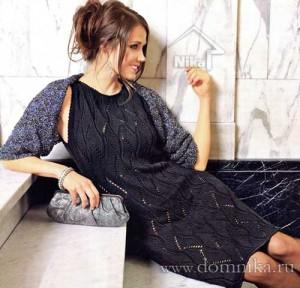 Элегантное ажурное платье спицами