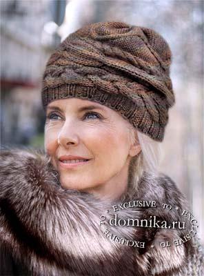 вязаные шапки для дам пожилого возраста бесплатно