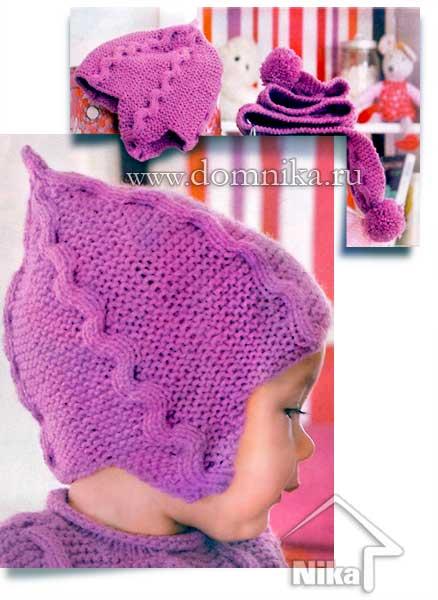 Детская вязаная шапочка и шарф спицами