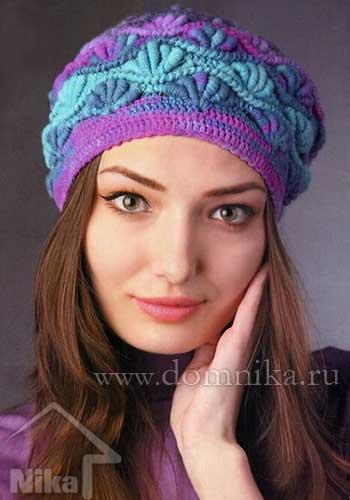 Схема вязания шапки женской крючком
