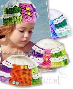 Летняя детская шапочка крючком со схемами