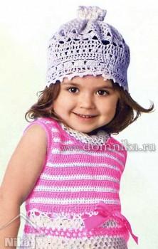 Летняя шапочка-панамка для малышки крючком