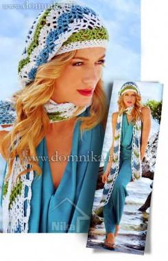 Летняя вязаная шапочка и шарф крючком