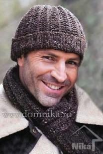 Мужская вязаная шапка и шарф спицами