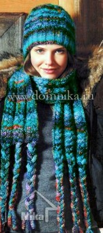 женская шапка с косами и шарф