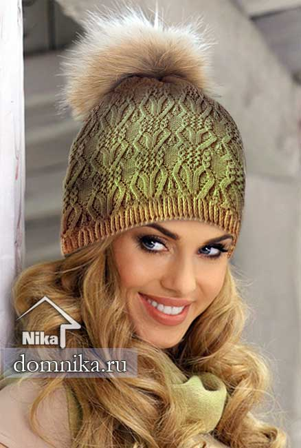 модные шапки спицами I женские вязаные шапки на весну 2019