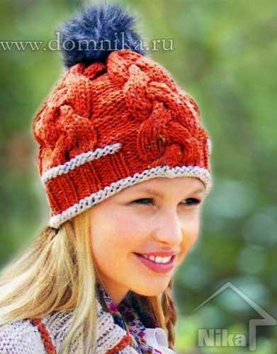 Молодежная теплая шапка. Вязание спицами