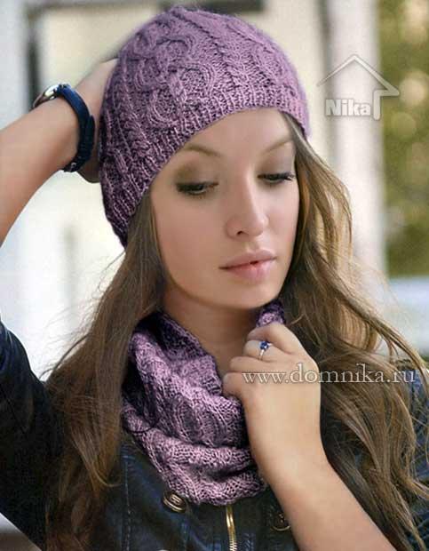 схема шапки с косами на сп