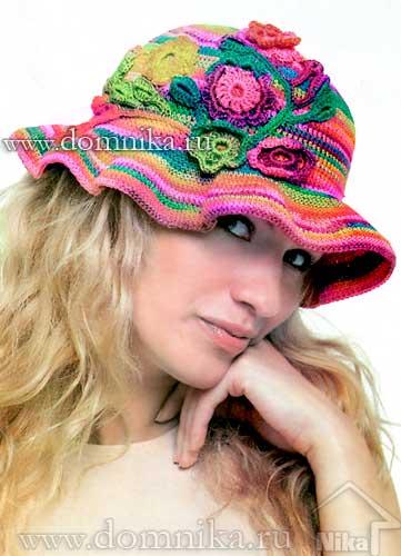 Вязаные шапки крючком на лето для женщин