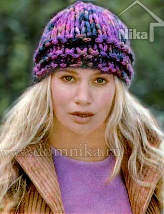Вязание женских шапок с отворотом спицами 42