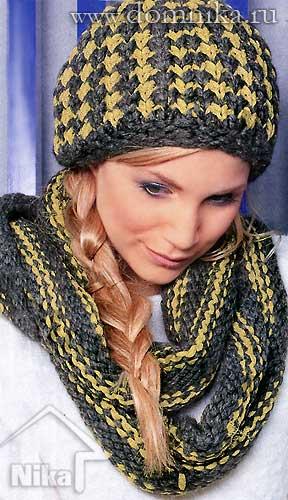 Женская шапка спицами и шарф