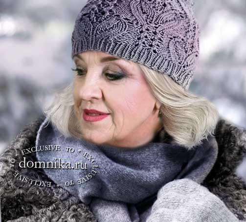 шапка спицами для женщин 60 лет