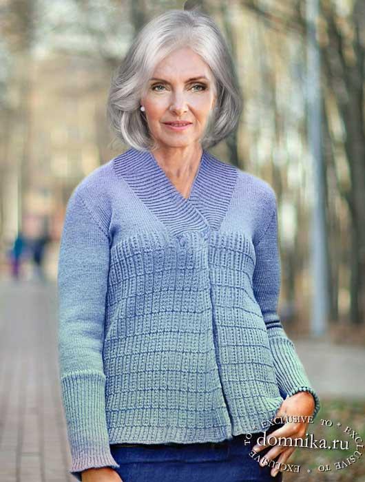 Аккуратный вязаный жакет для дам старше 60 лет