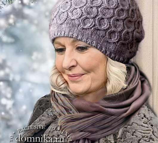 Вязаные шапки для женщин 60 лет