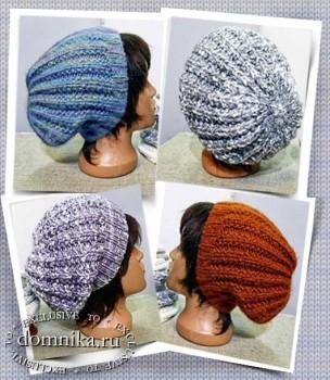 Простая вязаная шапка спицами