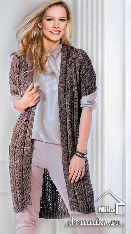 длинный вязаный жилет вязание спицами для полных женщин